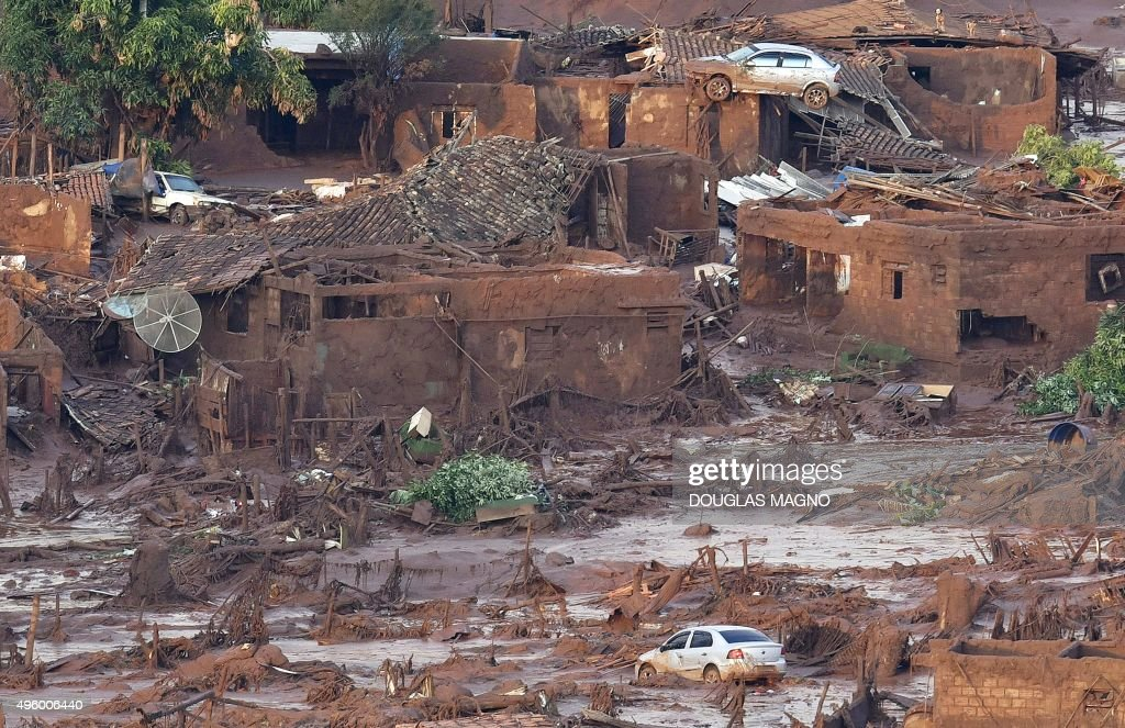 A general view where a dam burst in the village of Bento Rodrigues in Mariana the southeastern Brazilian state of Minas Gerais on November 6 2015 A...
