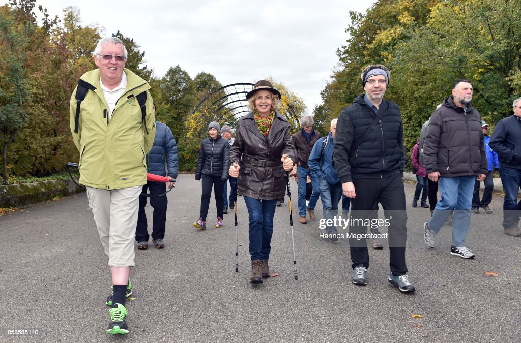 General view with actress Michaela May during the charity walk for the Mukoviszidose e. V. at Westpark on October 7, 2017 in Munich, Germany.