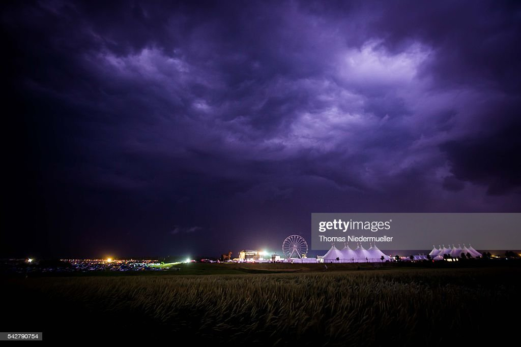 General view with heavy thunderstorms are seen during the Southside festival on June 24, 2016 in Neuhausen, Germany.