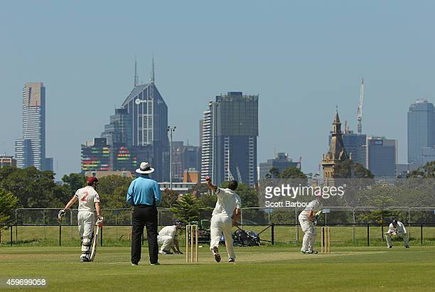 A general view with the city skyline in the background during a match between Carlton and Fitzroy Doncaster 1st grade at Princes Park on November 29...