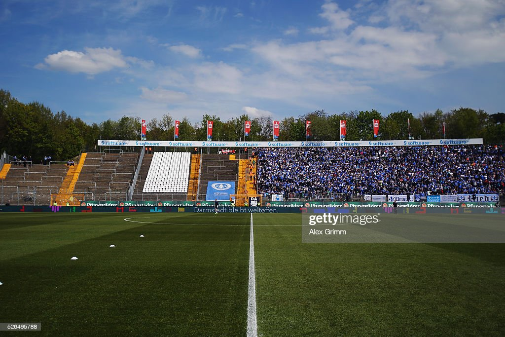 A general view with the empty guest block prior to the Bundesliga match between SV Darmstadt 98 and Eintracht Frankfurt at Merck-Stadion am Boellenfalltor on April 30, 2016 in Darmstadt, Hesse.