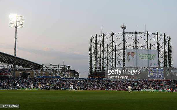 A general view with the floodlights on during day five of the 5th Investec Ashes Test match between England and Australia at the Kia Oval on August...