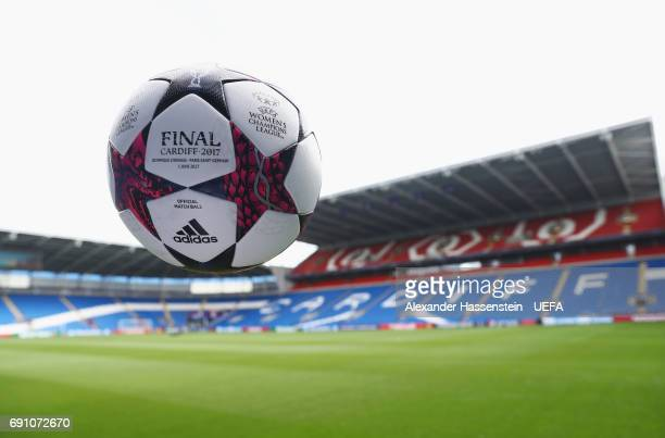 A general view with the match ball prior to the UEFA Women's Champions League Final between Lyon and Paris Saint Germain at Cardiff City Stadium on...
