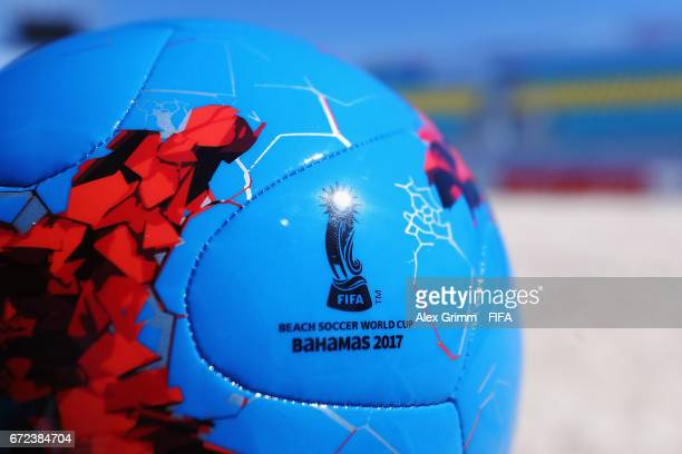 A general view with the official match ball at the stadium before the FIFA Beach Soccer World Cup Bahamas 2017 on April 24 2017 in Nassau Bahamas
