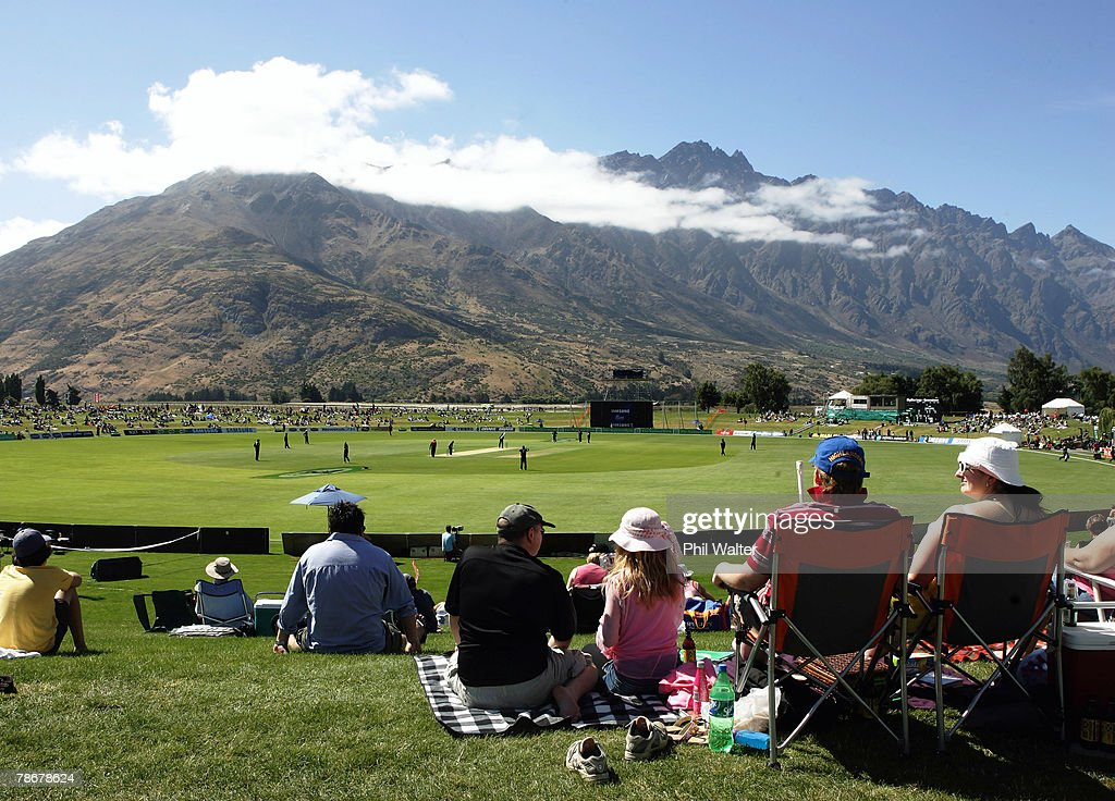 A general view with the Remarkables mountain range in the background during the third one day international match between New Zealand and Bangladesh...