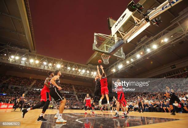 A general view with the roof open as David Andersen of United drives to the basket during the round 18 NBL match between Melbourne United and the...
