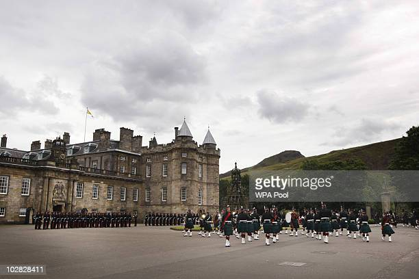 A general viewof soliders parading during the Ceremony Of The Keys at the Palace of Holyroodhouse attended by Queen Elizabeth II on July 12 2010 in...