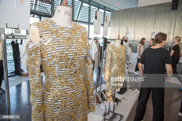 General views backstage ahead of the Preen by Thornton Bregazzi show during London Fashion Week Spring/Summer 2016/17 on September 20 2015 in London...