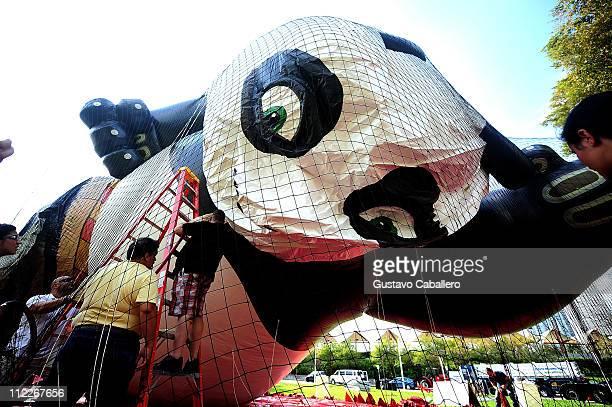 General views 'Kung Fu Panda 2' Po Macy's Parade Balloon Tour at Bayside Marketplace on April 16 2011 in Miami Florida