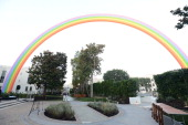 General views of atmosphere at the OZ Tribute Iconic Rainbow Art Installation By American Multimedia Artist Tony Tasset On Sony Studio's Backlot at...
