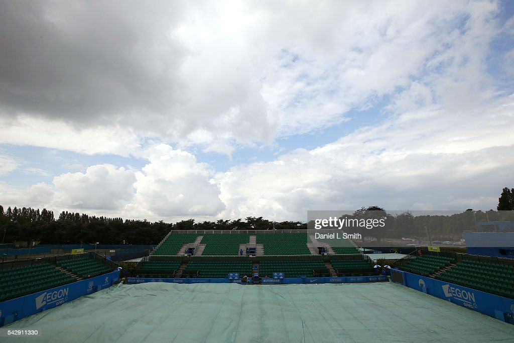 General views of Centre Court with the rain covers on ahead of day six of the ATP Aegon Open Nottingham at Nottingham Tennis Centre on June 25, 2016 in Nottingham, England.