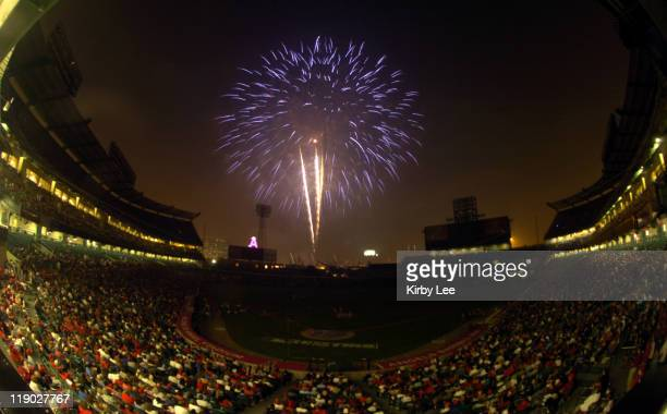 General views of fireworks at Angel Stadium on Sunday July 4 2004