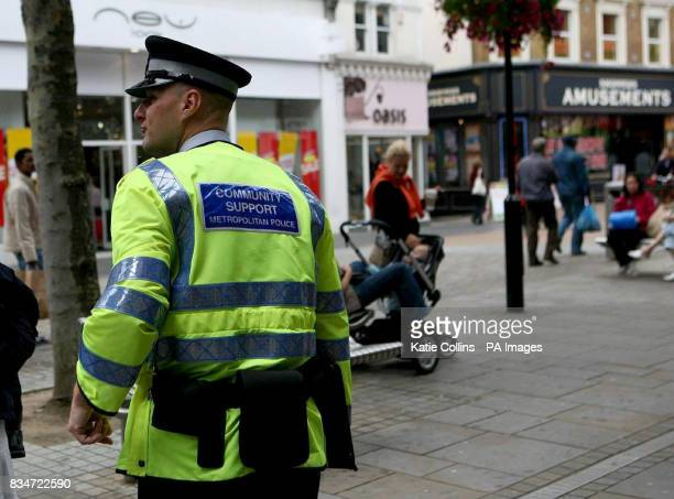 General views of North End Croydon in south London where two police officers were assaulted on Wednesday