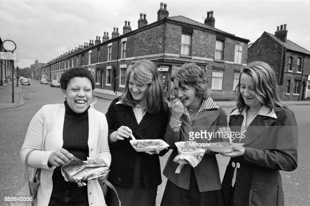General views of people in Salford Manchester 16th July 1974