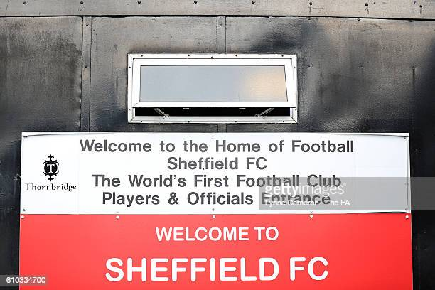 General views of Sheffield FC before the WSL 2 match between Sheffield FC Ladies and London Bees at Home of Football on September 25 2016 in...