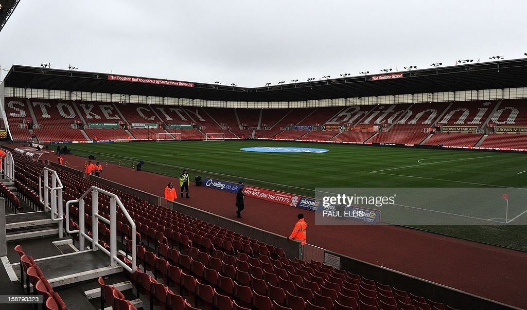 General views of Stoke City's Britannia Stadium in Stoke-on-Trent, England, on December 29, 2012. AFP PHOTO/Paul Ellis PUBLICATIONS ==