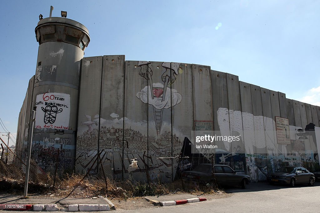 General views of the Apartheid Wall at Bethlehem on June 16, 2013 in central West Bank.