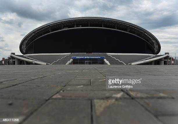 General views of the Kazan Arena during a media tour of Russia 2018 FIFA World Cup venues on July 11 2015 in Kazan Russia