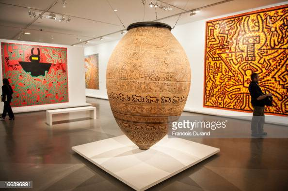 General views of the Keith Haring Exhibition during a press preview at Musee d'Art Moderne on April 18 2013 in Paris France