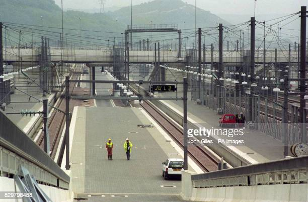 General views of the loading ramps and platforms at Channel tunnel site in Folkestone UK