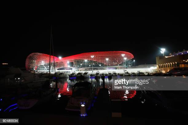General views of the new circuit at night during previews to the Abu Dhabi Formula One Grand Prix at the Yas Marina Circuit on October 29 2009 in Abu...