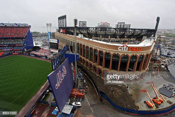 General views of the new Citi Field from the upper deck during the last regular season baseball game ever played in Shea Stadium featuring the New...