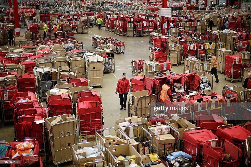 General views of the packet and parcel section of the Royal Mail's Swan Valley mail centre on December 18, 2013 in Northampton, England. This Friday the 20th is the last day for first class mail for Christmas. This will be the first Christmas since privatisation, Royal Mail is also set to join the FTSE 100 only two months since its debut.