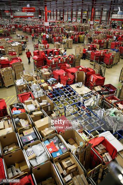 General views of the packet and parcel section of the Royal Mail's Swan Valley mail centre on December 18 2013 in Northampton England This Friday the...