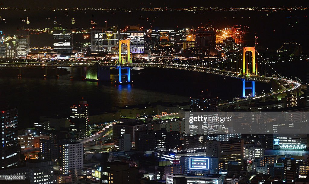 General views of Tokyo with the Rainbow Bridge prominent ahead of the FIFA Club World Cup on December 10, 2012 in Tokyo, Japan.