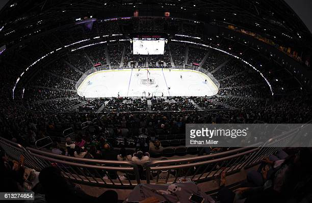 A general views shows the Dallas Stars and the Los Angeles Kings on the ice during their preseason game at TMobile Arena on October 7 2016 in Las...