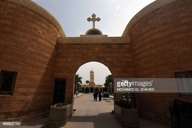 A general views shows the Monastery of Marmina in the city of Borg ElArab east of Alexandria on April 10 as mourners attend the funeral of victims of...