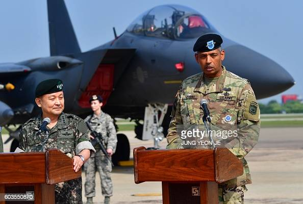 US General Vincent K Brooks Commander of the United Nations Command Combined Forces Command and United States Forces Korea speaks as South Korea's...