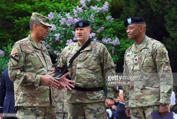 US General Vincent K Brooks commander of the United Nations Command Combined Forces Command and United States Forces Korea talks with US military...