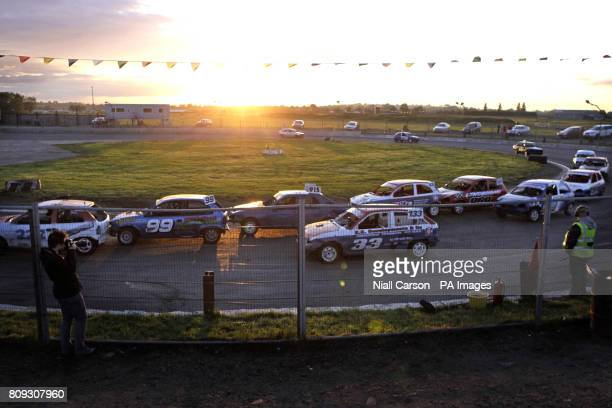 A general virew of the opening heat of the prostock stock car racing event at Nutts Corner Oval in Crumlin Northern Ireland Picture date Saturday...