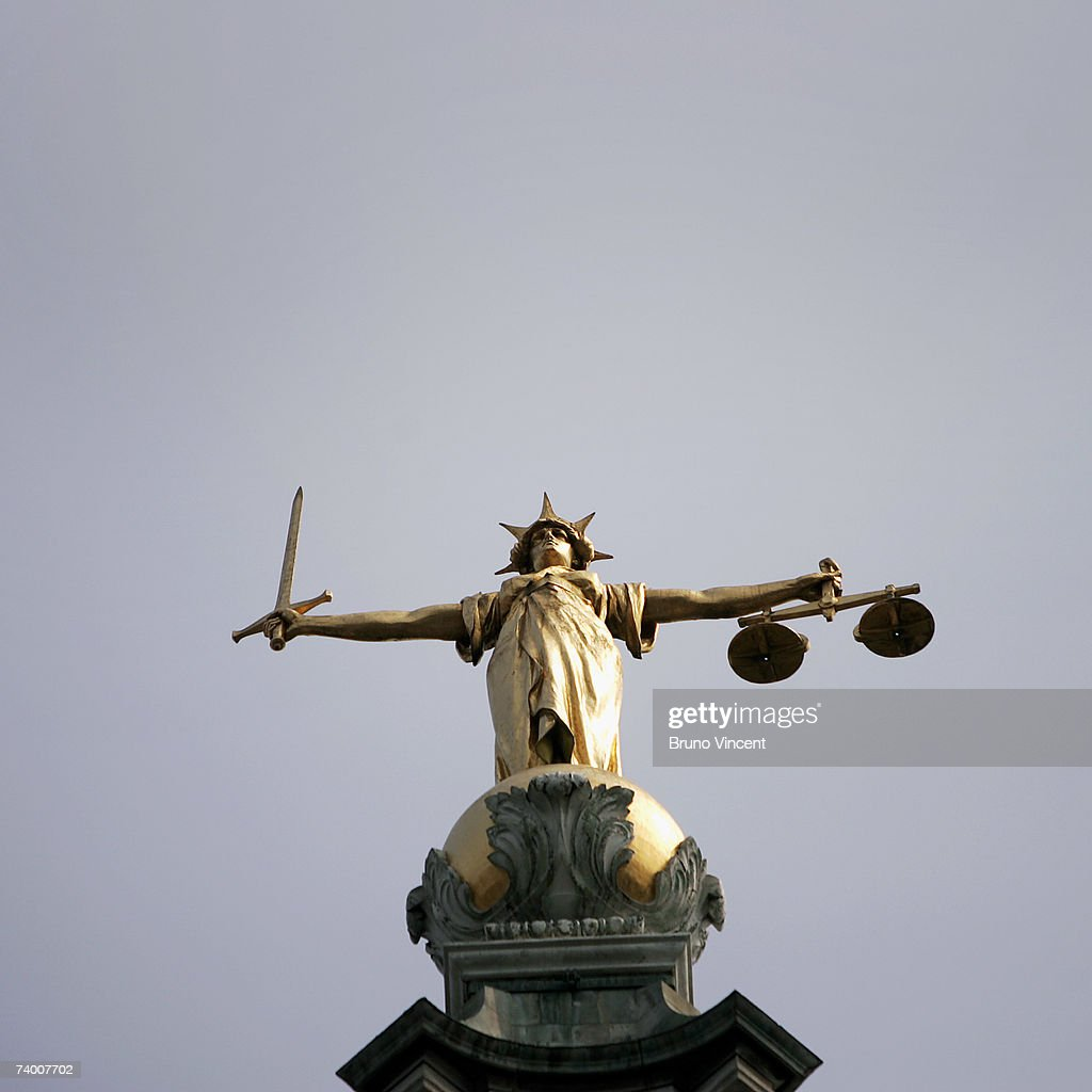 A general virew of the Scales of Justice on top of the Old Bailey on April 27, 2007 in London.