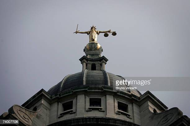 A general virew of the Scales of Justice on top of the Old Bailey on April 27 2007 in London