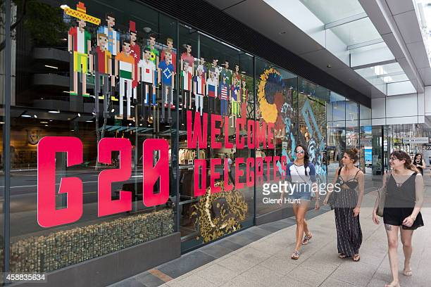 General viw of a sign reading 'Welcome G20 Delegates' is seen on a shop front on November 12 2014 in Brisbane Australia G20 banners line Victoria...
