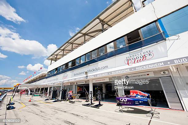 A general voew of the pit lane during previews ahead of the Hungarian Formula One Grand Prix at Hungaroring on July 24 2014 in Budapest Hungary