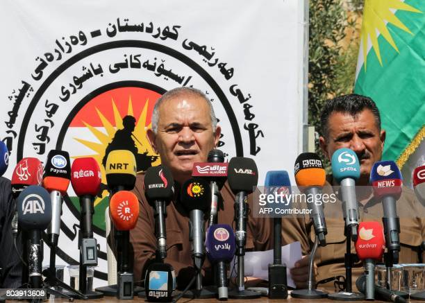 General Wasta Rasul Peshmerga forces commander in southern Kirkuk gives a press conference on the progress of IraqiUS joint operations in areas of...