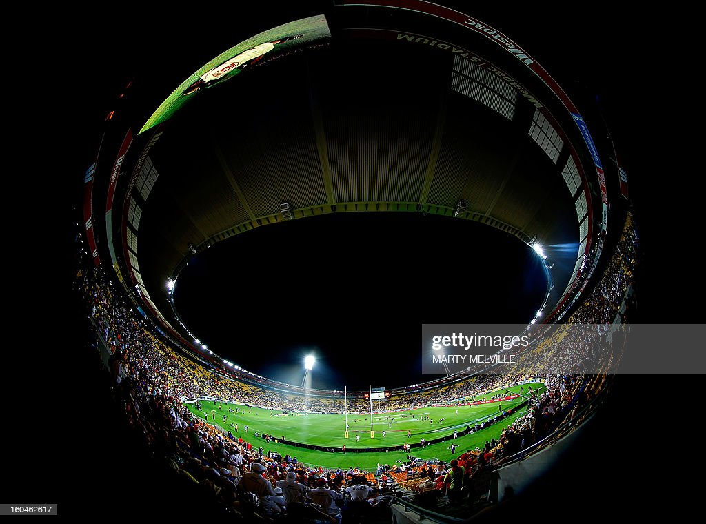 A general wide angle view shows the Westpac Stadium during the fourth leg of the IRB Rugby Sevens World Series in Wellington on February 1, 2013. AFP PHOTO / Marty MELVILLE
