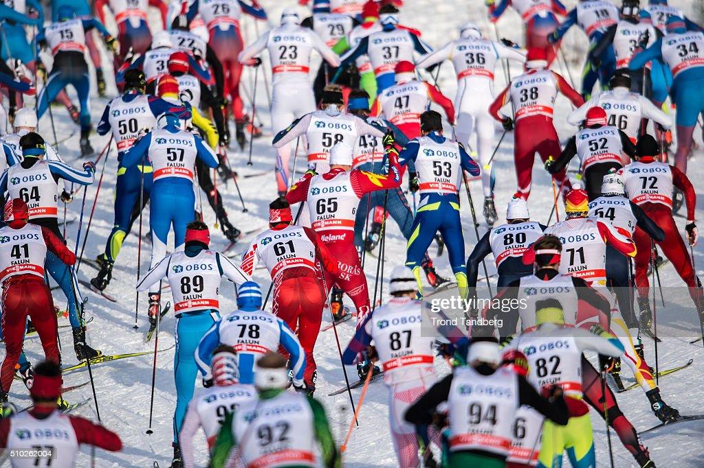 General wiew Cross Country Men 15.0 km Mass Start Free on February 14, 2016 in Falun, Sweden.