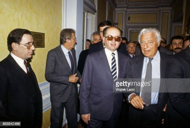 General Wojciech Jaruzelski meets Giovanni 'Gianni' Agnelli President of the Italian Fiat Group at the Grand Hotel in Rome Italy January 1987