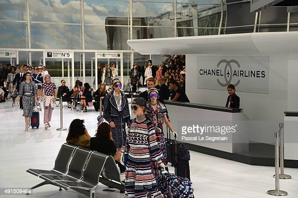 Generale view of the runway during the Chanel show as part of the Paris Fashion Week Womenswear Spring/Summer 2016 on October 6 2015 in Paris France