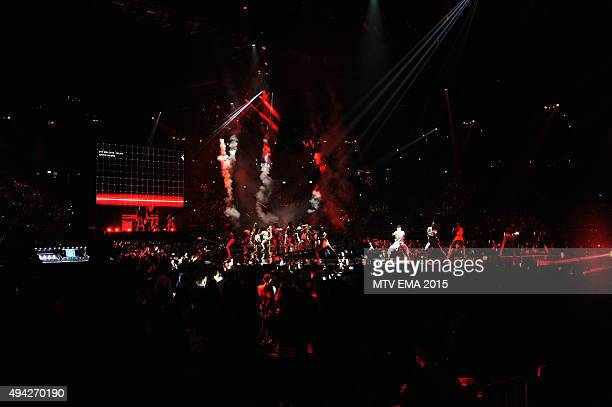 A generale view of the stage during the MTV EMA's 2015 at the Mediolanum Forum on October 25 2015 in Milan Italy