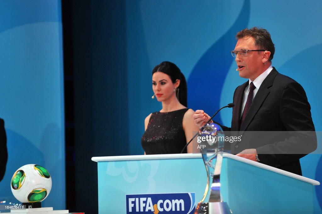 General-Secretary Jerome Valcke (R) speaks on March 25 ,2013 during the draw for the FIFA U-20 World Cup Turkey 2013 in istanbul. The FIFA U-20 World Cup will be held in Turkey between June 21 and July 13.