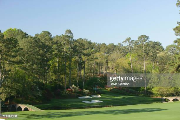 A generalview of the 12th green during the completion of the third round of The Masters at the Augusta National Golf Club on April 10 2005 in Augusta...
