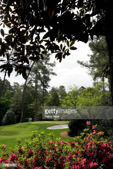 A generalview of the tenth hole as a group of players approaches the green during the third practice day prior to the start of The Masters at the...
