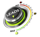 Leads switch button positioned on maximum, white background and green light. Conceptual image for leads generation illustration.