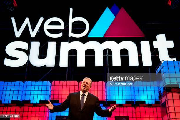 Generation Investment Management's chairperson Al Gore delivers a speech during the 2017 Web Summit in Lisbon on November 9 2017 Europe's largest...