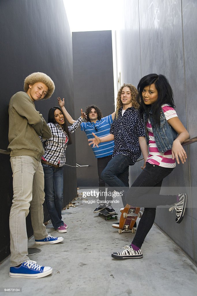 Generation Y kids hanging out : Stock Photo